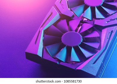 Video graphics card. Abstract bright violet blue light. Gpu background.