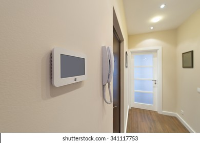Video intercom display near the entrance door
