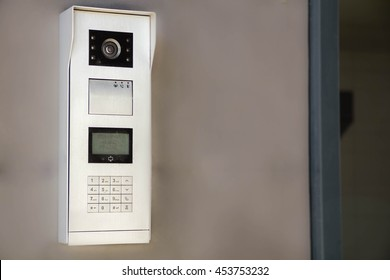 Video intercom display near entrance door. the concept of security.