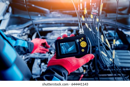 Video investigate. Engine diagnostics. Car repair. Service station.