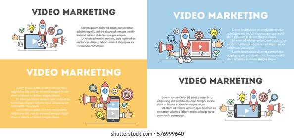 Video marketing concept set. Digital design. Social network and media communication.