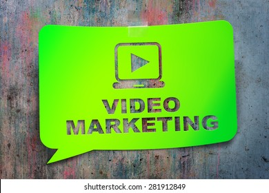 """Video marketing,"" green banner on a textural background. Design, template,business, technology"