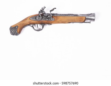 video of Old gun on white background