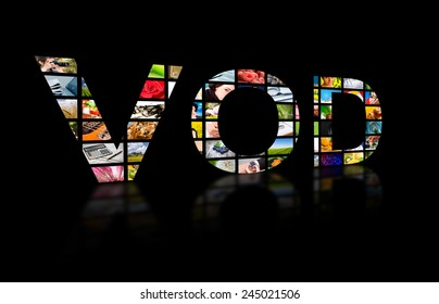 Video on demand abstract text ob black background. Tv concept.