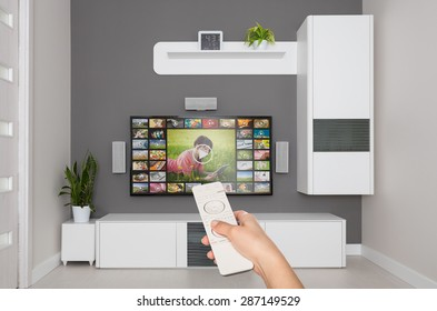 Video on demand VOD service on TV, television concept.