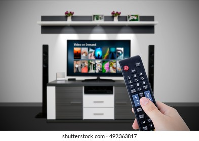 Video on demand VOD service in TV. Watching television home cinema tv hd concept