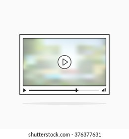 Video player interface illustration with film blurred background, black and white media player screen picture, modern simple outline design, thin line video player sketch style isolated on white image