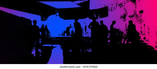 Video production behind the scenes or the making of movie and film crew team working in silhouette of camera and equipment set in studio. Online video shooting process. film industry concept.
