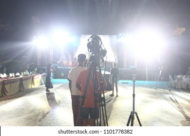 Video Production Camera social network live recording on Stage event which has session of contest, performance, concert or business seminar.  World Class Stage and ob switch team, high low exposure