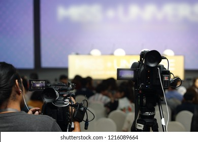 Video Production Camera social network live recording on Stage event which vdo has interview session of contest, performance, concert or business seminar.  World Class Stage and ob switch team