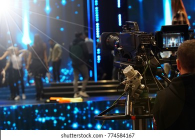 Video Production Camera social network live recording on Stage event which has interview session of contest, performance, concert or business seminar.  World Class Stage and ob switch team