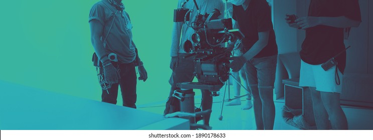 Video production and studio set up for movie shooting. Behind the scenes of filming online video production with professional 8k camera equipment and film crew team working. movie industry concept.