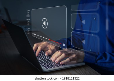 Video streaming on internet. Person watching online movie or TV series on laptop computer screen. Concept about subscription based live digital stream or channels, multimedia player with play button