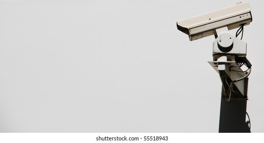 video surveillance camera on a wall