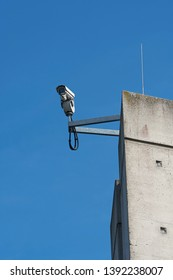 Video surveillance on a pillar of the trough bridge at Hohenwarthe in Germany