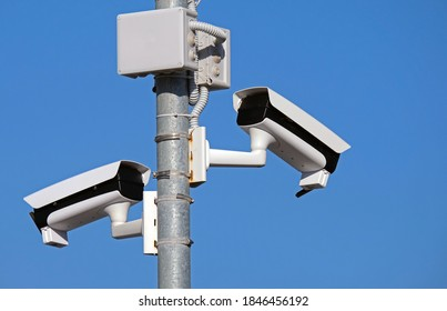 Video surveillance securty cameras in an outdoor pole