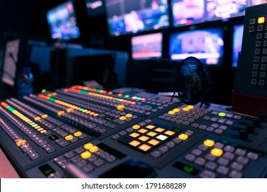 video switch of Television Broadcast, working with video and audio mixer, control broadcasts in recording studio.