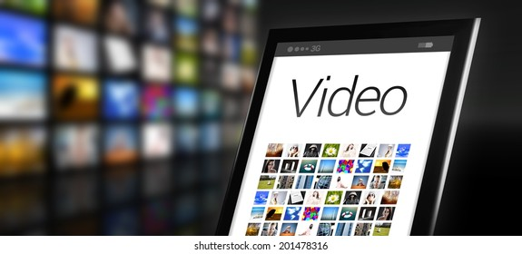 Video, tablet with many app icons