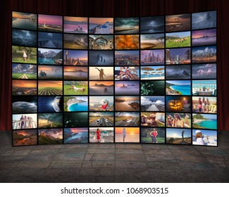 Video wall in television production room as technology concept with colorful screens.