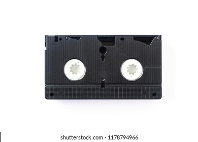 Videocassette isolated on white background. View from above.