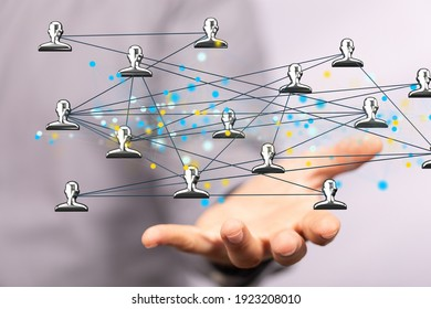 videoconference group of people talking in social network