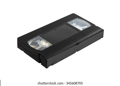 Videotape with a tape for the video-recorder on a white background