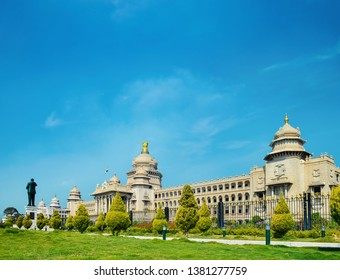 The Vidhana Soudha located in Bangalore, is the seat of the state legislature of Karnataka