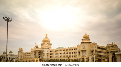 The Vidhana Soudha located in Bengaluru, is the seat of the state legislature of Karnataka.