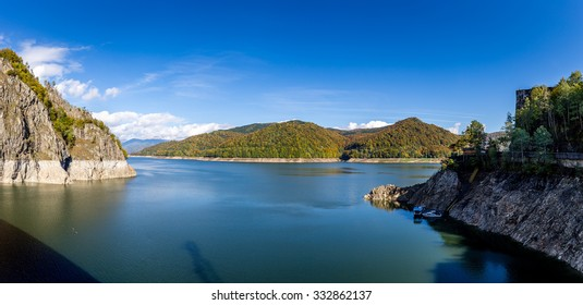 Vidraru Lake and Dam situated on Transfagarasan in Arges county, Romania.
