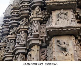 Vidyadhar, flying apsara maidens on the walls of  Duladeo Shiva Temple Khajuraho,  India