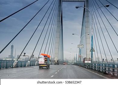Vidyasagar Setu (Bridge) over river Ganges, known as 2nd Hooghly Bridge in Kolkata,West Bengal,India. Connects Howrah and Kolkata, two big cities of West Bengal. Longest Cable- stayed bridge in India.
