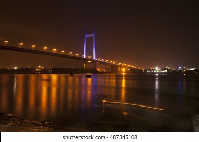 Vidyasagar Setu(Bridge) in Kolkata, known as 2nd Hooghly Bridge in Kolkata,West Bengal,India