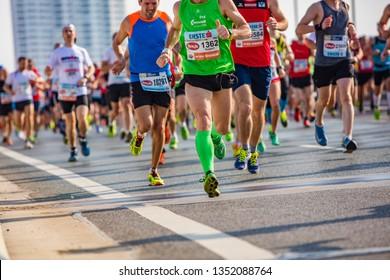 VIENNA - APRIL 22, 2018: The 35 Vienna Marathon. People running through the city streets. Austria on April 22, 2018