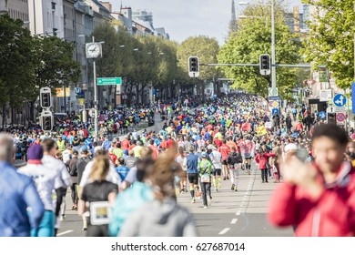 VIENNA - APRIL 23, 2017: The 34 Vienna Marathon. Race through the city streets. Austria on April 23, 2017.