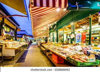 VIENNA, AUATRIA - JANUARY 15, 2018: Naschmarkt in Vienna. It is a famous food, souvenir and flea market in the middle of Vienna on January, 15, 2018