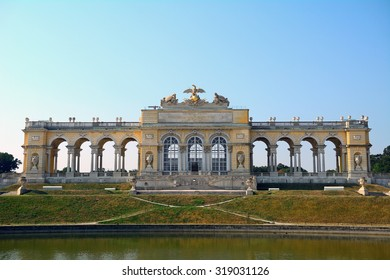 VIENNA - AUGUST 10 : Gloriette at Schonbrunn Palace at 21 August 2015 in Vienna, Austria. Schonbrunn is the former home of the Habsburgs.