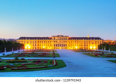 VIENNA - AUGUST 29: Schonbrunn palace at sunset on August 29, 2017 in Vienna. It's a former imperial 1,441-room summer residence and one of the most important cultural monuments in the country.