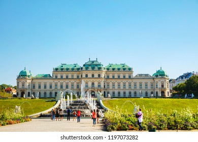 VIENNA - AUGUST 30: Belvedere palace on August 30, 2017 in Vienna, Austria. It's a historic building complex, consisting of two Baroque palaces, the Orangery, and the Palace Stables.
