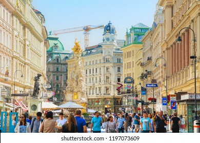 VIENNA - AUGUST 30: The Pestsaule (Plague Column) at Graben street on August 30, 2017 in Vienna. It's one of the most well-known and prominent pieces of sculpture in the city.