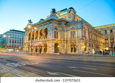VIENNA - AUGUST 30: Vienna State Opera at night on August 30, 2017 in Vienna. It's an opera house – and opera company – with a history dating back to the mid-19th century.