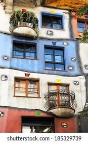 VIENNA �?? AUGUST 8: Facade of the Hundertwasser house in Vienna, Austria on August 8, 2011.