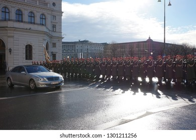 Vienna/ Austria - 01 08 2019. The soldiers of the Austrian army on the guard of honor lead by passing government vehicles. One of the entrances to the Hofburg Palace.