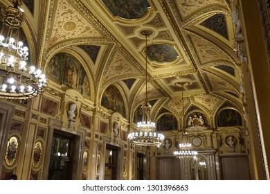 Vienna/ Austria - 01 08 2019. Interior decoration of the Vienna State Opera (Wiener Staatsoper)