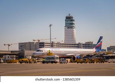 Vienna. Austria - 04.20.2019: Aeroflot plane in Schwechat airport.