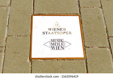 Vienna, Austria - 09 13 2019: street plate as part of the Musik Meile Wien between Theater an der Wien and St. Stephen's Cathedral in the Austrian capital