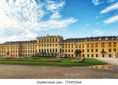 Vienna, Austria - 09 July, 2017: Schonbrunn Palace. The former imperial summer residence is a UNESCO World Heritage site.