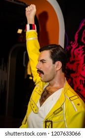 Vienna, Austria - 09.04.2014 : Madame tussauds,wax museum. Tourist attraction. Wax figure of Freddie Mercury