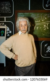 Vienna, Austria - 09.04.2014 : Madame tussauds,wax museum. Tourist attraction. Wax figure of Albert Einstein