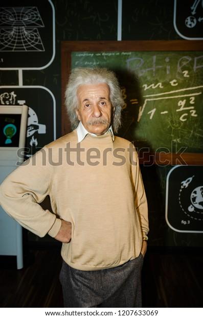 Vienna, Austria - 09.04.2014 : Madame tussauds,wax museum. Tourist attraction. Wax figure of Albert Einstein