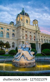 Vienna, Austria - 09/23/2018: Maria Theresa Square in Vienna. Museum of Natural History in Vienna. Art History Museum in Vienna and the fountain Triton and Naiad.